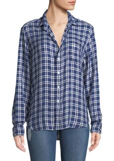 Frank & Eileen Eileen Check-Print Modal Button-Front Pocket Shirt