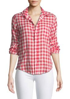 Frank & Eileen Barry Button-Front Check Linen Shirt