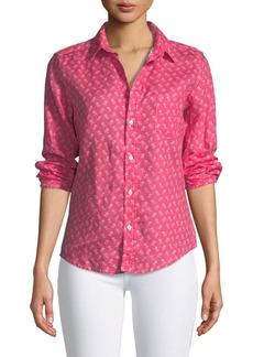 Frank & Eileen Barry Button-Front Slim Linen Shirt