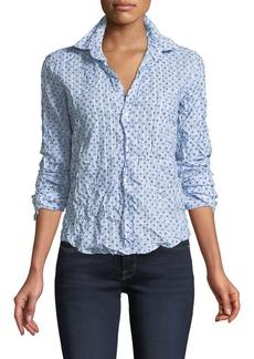 Frank & Eileen Barry Star-Print Striped Long-Sleeve Poplin Shirt