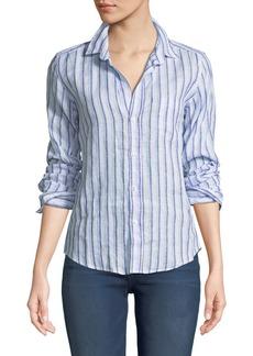 Frank & Eileen Barry Striped Long-Sleeve Linen Shirt