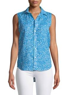 Frank & Eileen Fiona Sleeveless Button-Down Floral-Print Linen Shirt