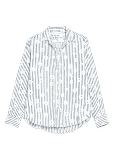 Frank & Eileen Floral Stripe Linen Button-Up Shirt