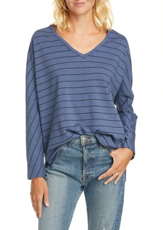 Frank & Eileen Stripe V-Neck Cotton French Terry Top
