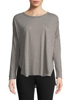 Frank & Eileen Tee Lab Striped Long-Sleeve High-Low Cotton Tee