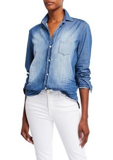 Frank & Eileen Long-Sleeve Button-Front Faded Denim Shirt