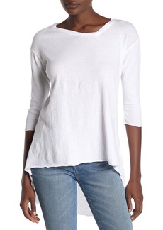 Frank & Eileen Off Center V-Neck Raw Hem T-Shirt
