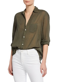 Frank & Eileen Eileen Tissue Color Italian Cotton Long-Sleeve Button-Down Shirt