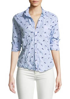 Frank & Eileen Printed Long-Sleeve Button-Down Cotton Top