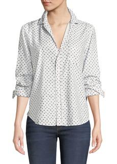 Frank & Eileen Star-Print Cotton Button-Down Long-Sleeve Top