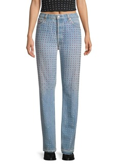 Frankie B Baggy Reconstructed Rhinestone Jeans