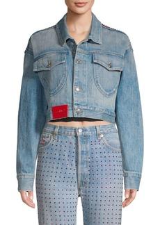 Frankie B Cropped Rhinestone Denim Jacket