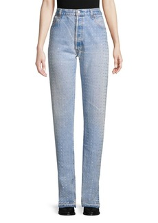 Frankie B Multi-Rhinestone Fray-Hem Jeans
