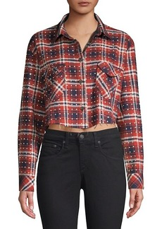 Frankie B Rhinestone Flannel Plaid Button-Down Shirt