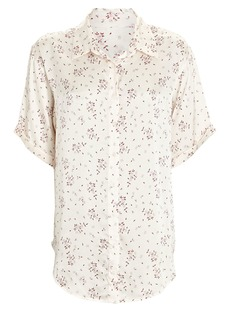 Frankies Bikinis Fifi Paisley Silk Button-Down Shirt