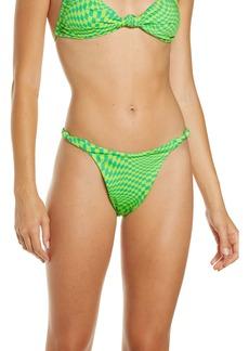 Frankies Bikinis Checker Print Knot Strap Bikini Bottoms