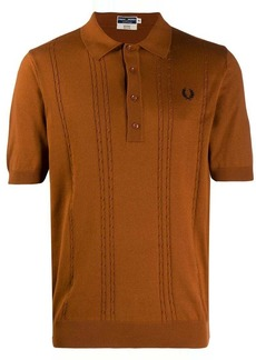 Fred Perry cable knitted polo shirt