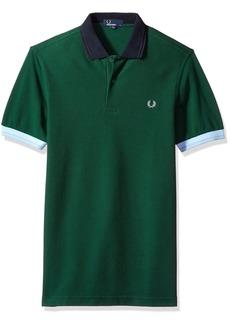 Fred Perry Colour Block Pique Green Short Sleeve Cotton Shirt