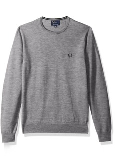 Fred Perry Men's Classic Crew-Neck Sweater Steel MARL