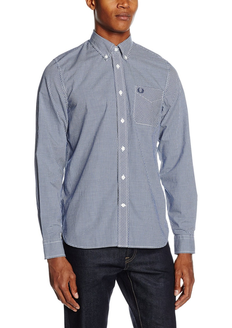 60e28296f Fred Perry Men s Fred Perry Short Sleeve Gingham Casual Button Down Shirt  Shirt -Medieval Blue