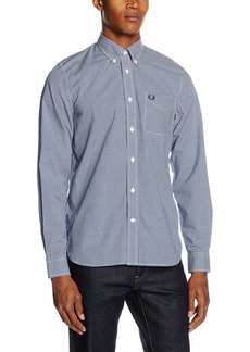 Fred Perry Classic Gingham Long Sleeve Cotton Woven Royal Blue Button Down Shirt