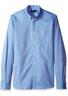 Fred Perry Men's Classic Oxford Long Sleeve Shirt mid Blue