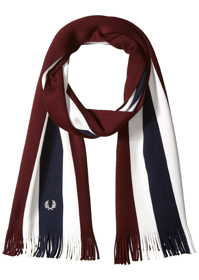 Fred Perry Men's College Stripe Scarf mahogany/white/navy