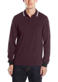 Fred Perry Men's Long Sleeve Twin Tipped Shirt Mahogany Blk OXF