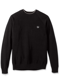 Fred Perry Men's Micro Bomber Tipped Crew Neck Charcoal MARL