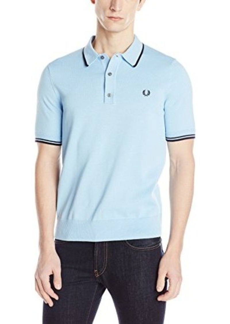 Fred perry fred perry men 39 s tipped knit polo shirt sky for Fred perry mens shirts sale