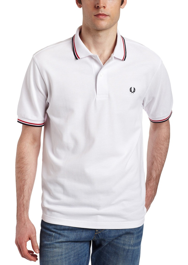 Fred Perry Men's Twin Tipped Polo Shirt-M1200 WHT/BRT RED/NVY