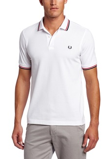 Fred Perry Men's Twin Tipped Polo Shirt-M3600 White/BrightRed/Navy