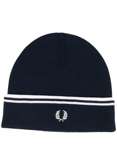 Fred Perry logo knitted beanie hat