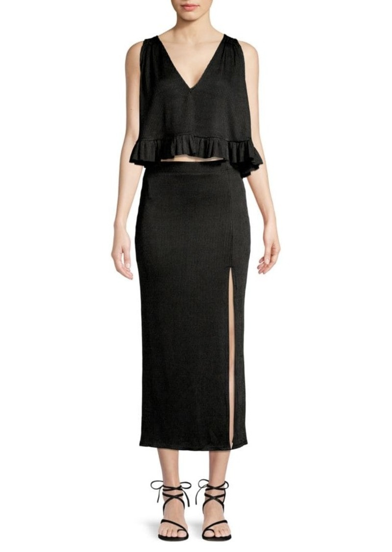 Free People 2-Piece No Excuse Ruffle Ribbed Top & Skirt Set