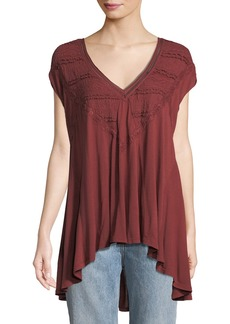 Free People Abigail Draped Lace V-Neck Tee