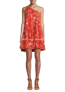 Free People All Mine One-Shoulder Printed Mini Dress