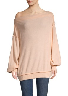 Free People Asymmetrical Balloon-Sleeve Top