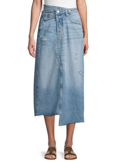 Free People Asymmetrical Denim Midi Skirt