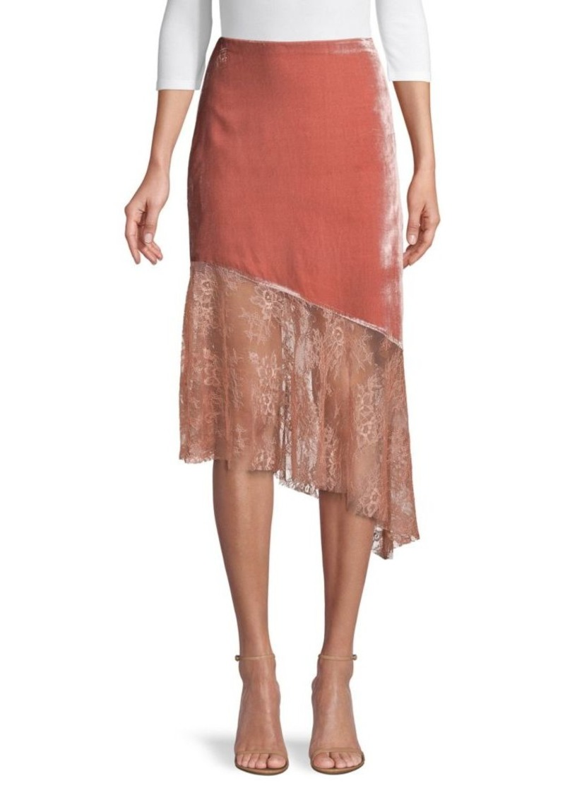 Free People Asymmetrical Lace Midi Skirt