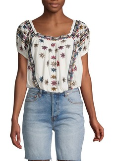 Free People Aurora Embroidered Top