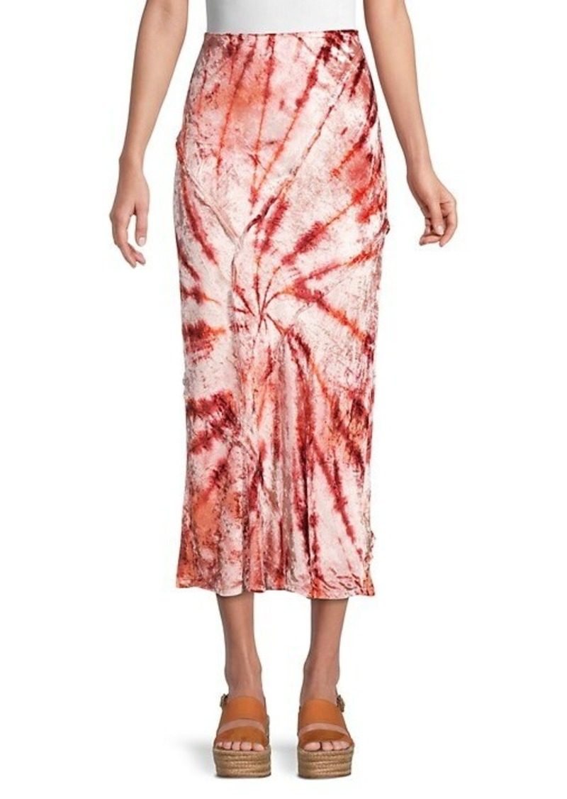 Free People Bali Serious Swagger Tie Dye Velvet Midi Pencil Skirt