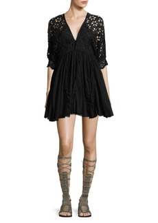 Free People Bella Note Eyelet Fit-&-Flare Dress