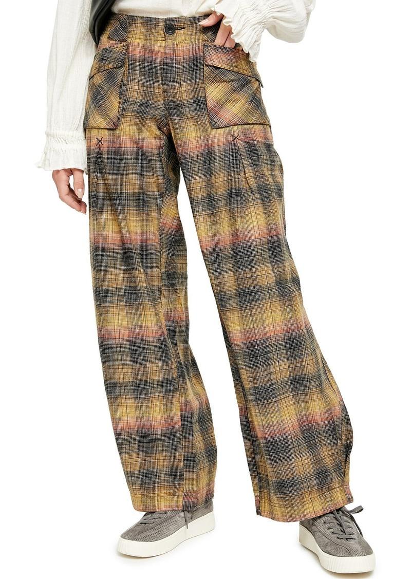 Free People Birch Plaid Wide Leg Pants