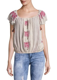 Free People Cap Sleeve Tassel Cotton Top