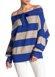 Free People Cassidy Off-the-ShoulderStripe Knit Pullover