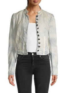 Free People Cassie Pinstriped Cotton Jacket