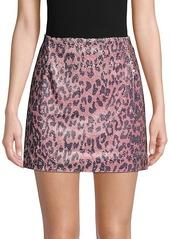 Free People Cheetah-Print Sequin Mini Skirt
