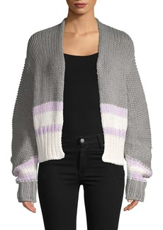 Free People Colorblock Cotton Blend Cardigan