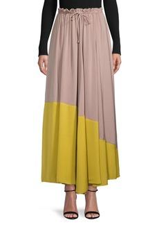 Free People Colorblock Pleated Midi Skirt