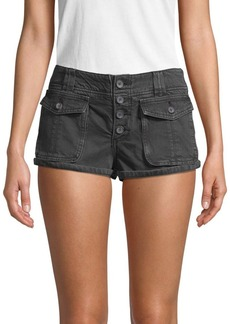 Free People Cora Denim Button Shorts